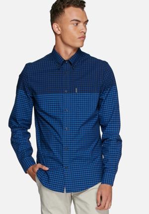 Ben Sherman Gingham Slim Shirt  Blue / Navy