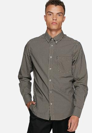 Ben Sherman Gingham Shirt Black / Cream