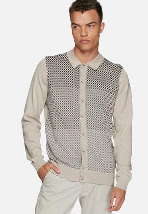 Ben Sherman Collared Cardigan Knitwear Beige