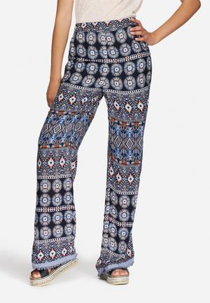 Vero Moda Ivy Palazzo Pants Trousers Navy, White & Orange