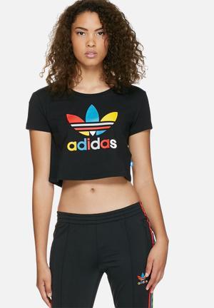 Adidas Originals Saturday Night Fever Slim Crop Tee T-Shirts Black