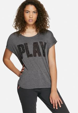 ONLY Play Jina Tee T-Shirts Grey & Black