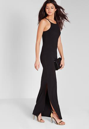 Missguided Square Neck Split Maxi Dress Occasion Black