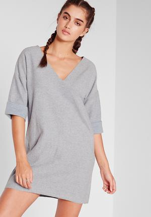 Missguided Reverse Oversized T-shirt Dress Casual Blue / Grey