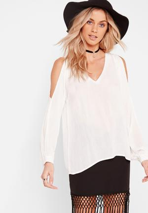 Cheesecloth cold shoulder blouse
