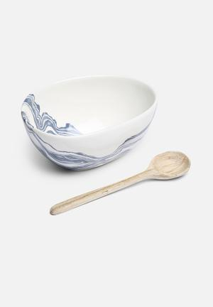 Love Milo Indigo Bowl & Wooden Spoon Dining & Napery Porcelain & Hand Carved Wooden Spoon