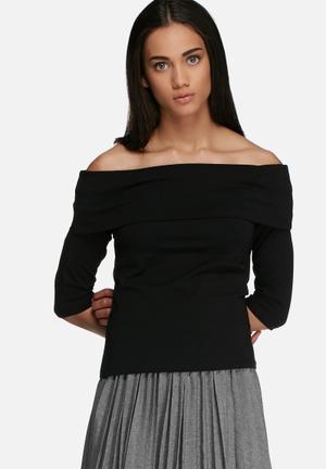 Jacqueline De Yong Kenya Off The Shoulder Top T-Shirts, Vests & Camis Black