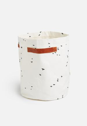 Love Milo Birds Laundry Basket Organisers & Storage  100% Cotton, Waterproof Inner Lining, Water Resistant Outer Canvas & Leather Handles