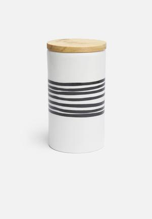 Love Milo Stripe Jar With Lid Organisers & Storage Ceramic & Wood