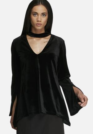 Dailyfriday Velvet Swing Top Blouses Black