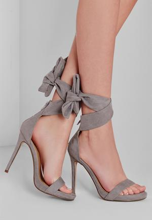 Missguided Ankle Tie Heels Grey