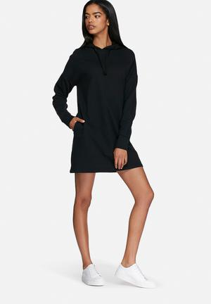 Dailyfriday Hooded Sweat Dress Casual Black