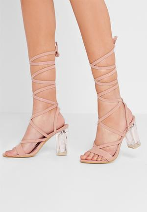 Missguided Perspex Lace Up Heel Pink