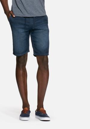 PRODUKT Denim Jogger Shorts Blue