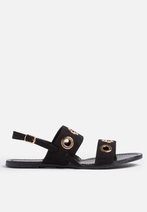 Glamorous Eyelet Sandal Black
