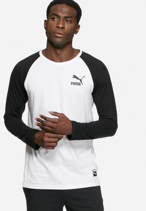 PUMA Archive Raglan Tee T-Shirts White & Black