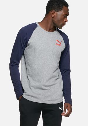 PUMA Archive Raglan Tee T-Shirts Grey & Navy