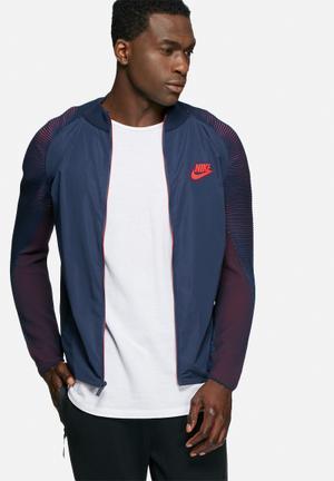 Nike Tech Knit Varsity Jacket Hoodies & Sweatshirts Navy & Red
