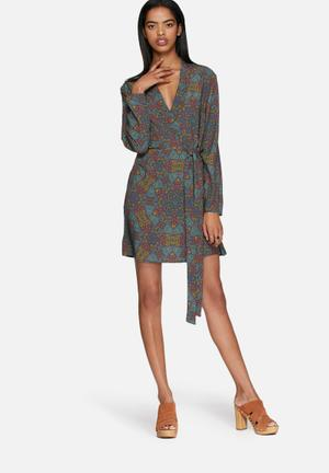 Neon Rose Tile Print Wrap Dress Formal Blue, Green, Purple, Orange
