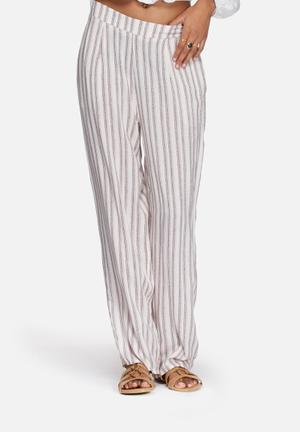 Neon Rose Stripe Cotton Trousers  Pink / Nude / Blue
