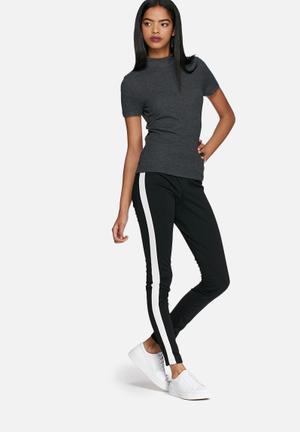 Dailyfriday Side Stripe Leggings Trousers Black & White