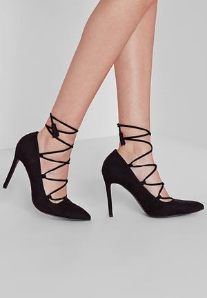 Missguided Lace Up Court Heels Black