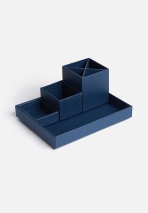 MatchBOX Lena 4 Piece Desktop Organiser Gifting & Stationery Dark Blue