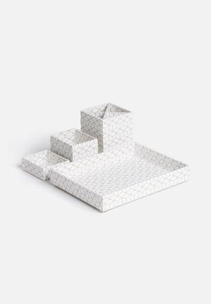 MatchBOX Lena 4 Piece Desktop Organiser Gifting & Stationery White / Gold