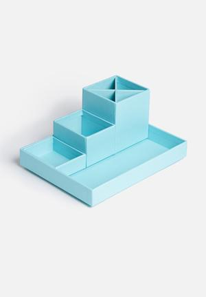 MatchBOX Lena 4 Piece Desktop Organiser Gifting & Stationery Blue