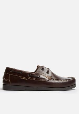 Grasshoppers Jack Leather Boat Shoe Slip-ons And Loafers Brown