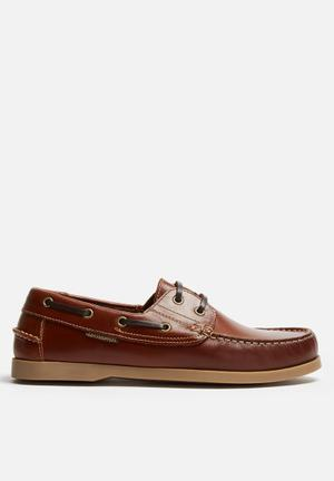 Grasshoppers Jack Leather Boat Shoe Slip-ons And Loafers Tan