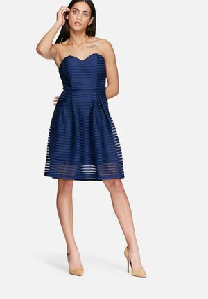 Glamorous Sweetheart Mesh Dress Occasion Navy