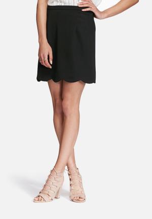 Glamorous Scalloped Mini Skirt Black