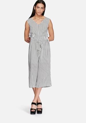 Glamorous Pinstripe Jumpsuit Black & White