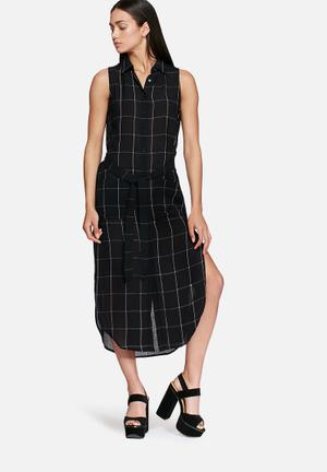 Glamorous Grid Shirt Dress Casual Navy & White