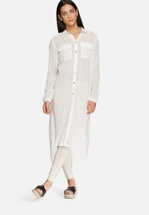 Glamorous Sheer Long Shirt  White