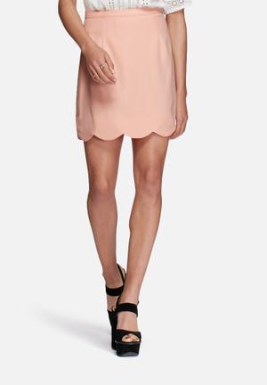 Glamorous Scalloped Mini Skirt Pink