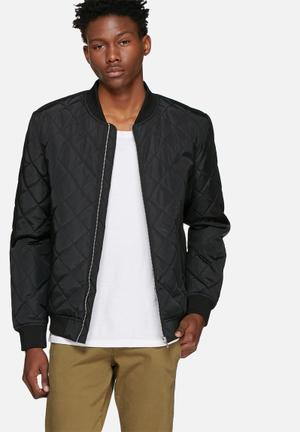 Selected Homme Pete Quilted Bomber Jackets Black