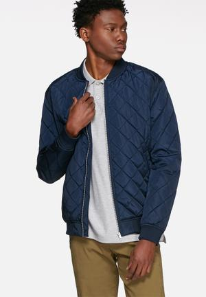 Selected Homme Pete Quilted Bomber Jackets Navy