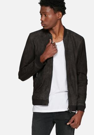 Jack & Jones Premium Thak Suede Jacket Grey