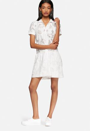 Vero Moda Lace Polo Dress Casual White