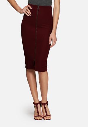 Dailyfriday Ribbed Midi Zipped Skirt Burgundy