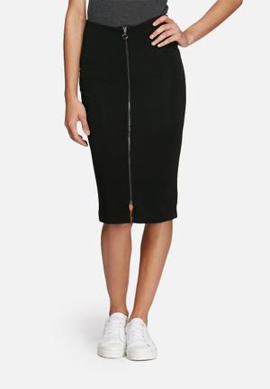Dailyfriday Ribbed Midi Zipped Skirt Black