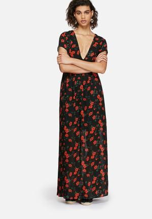 Glamorous Spanish Floral Dress Casual Black, Red & Green