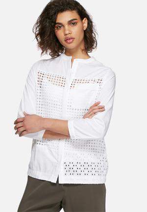Neon Rose Broderie Anglaise Shirt White