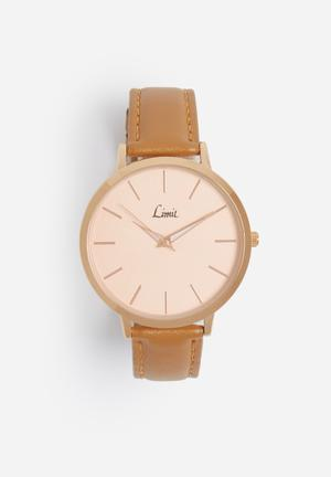 Limit Watches Round Rose-gold Watch Pink Case With Brown Strap