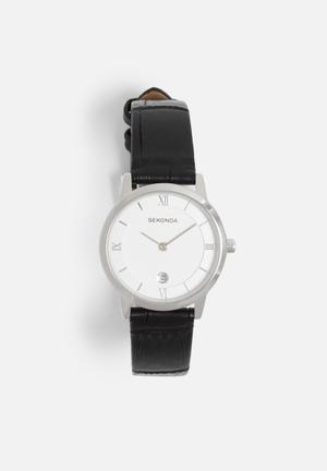 Sekonda Moc Croc Watch Silver With Black Strap