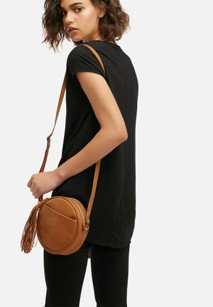 FSP Collection Leather Round Bag Tan