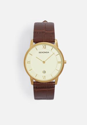 Sekonda Moc Croc Watch Gold With Brown Strap