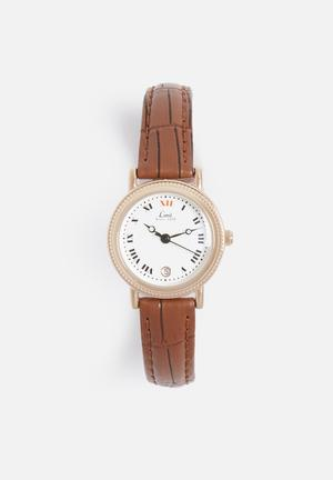 Limit Watches Round Rose-gold Watch Rose Gold With Brown Strap